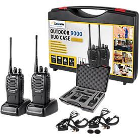 Funkgeräteset DeTeWe Outdoor 9000, Umkreis 10 km, 2 Headsets, mit Koffer