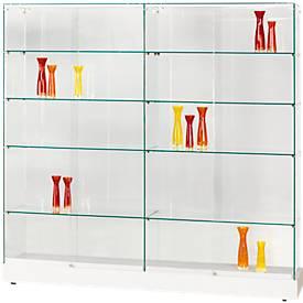 Ganzglas Stand-Vitrine GRANAT, ohne Beleuchtung, 8 Glasfachböden, Mitteltrennwand