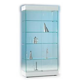 Ganzglas-Standvitrine ONYX, beleuchtet, 4 feste Böden, Schiebetüren verschließbar