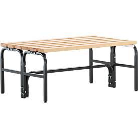 Garderobebanksysteem, type D, 1015 mm lang, stalen buis/hout