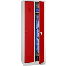 Garderobekast, 2 deuren, B 600 x H 1800 mm, cilinderslot, lichtgrijs/vuurrood
