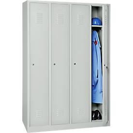Garderobekast, 4 deuren, B 1170 x H 1800 mm, cilinderslot, lichtgrijs