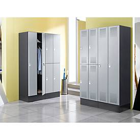 Garderobenschrank Classic, 2 Fächer, 600 mm breit, Hebelverschluss