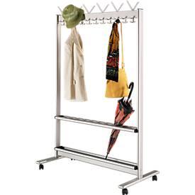 Garderobestandaard, lichtmetaal, 1160 mm breed, met parapluhouder