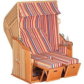 Garten-Strandkorb Rustikal 250 Plus, verstellbar, 2-Sitzer, Korbgeflecht in Beige