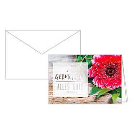 Geburtstagskarte Glückwunschkarte Alles Gute, mit Blumenmotiv, 10er-Set