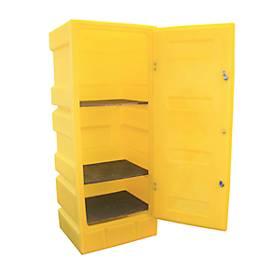 Gefahrstoffschrank für PSC2 Kleingebinde, 3 Fachgitter, Auffangwanne 70 l, abschließbar, PE, gelb