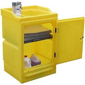 Gefahrstoffschrank für PWSD Kleingebinde, Wannenregal 10 l, Auffangwanne 48 l & 16 l, abschließbar, PE, gelb