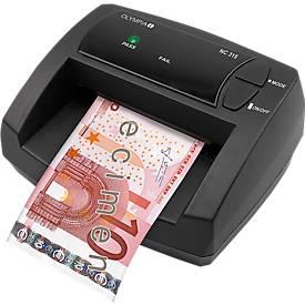 Geldscheinprüfer Olympia NC 315, EUR, Netz- oder Akkubetrieb, inkl. Netzteil, schwarz