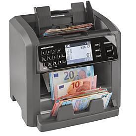 Geldscheinprüfer Ratiotec X400, EZB-Standard, EUR/GBP/USD/CHF/PLN, zählt & sortiert bis 1000 Scheine/min, Bündelung