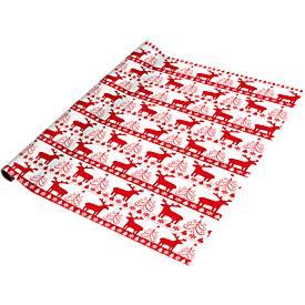 Geschenkpapier Christmas Red & White, weiße Grundfarbe, 700 x 2000 mm, 5 Rollen