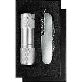 Geschenkset Combiknife, Taschenmesser und Taschenlampe, inkl. Lasergravur