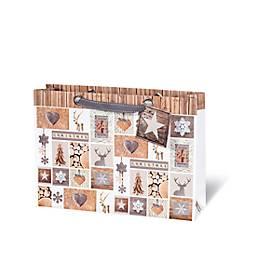Geschenktasche Christmas Forest, aus Kraftpapier, veredelt, 6 Stück