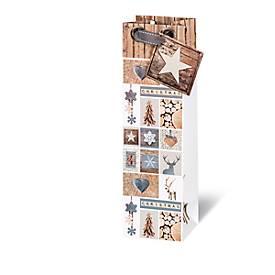 Geschenktasche Christmas Forest, im Flaschenformat, aus Kraftpapier, 6 Stück