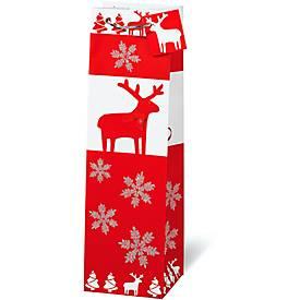 Geschenktasche Christmas Red & White, im Flaschenformat, mit Trageband, 6 Stück
