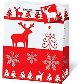 Geschenktasche Christmas Red & White, im Buchformat, mit Trageband, 6 Stück