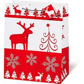 Geschenktasche Christmas Red & White, im DIN A4-Format, mit Trageband, 6 Stück