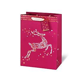 Geschenktasche Frohe Weihnachten, aus Kraftpapier, veredelt, 6 Stück