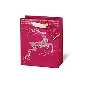 Geschenktasche, Frohe Weihnachten, aus Kraftpapier, veredelt, 6 Stück