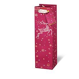 Geschenktasche Frohe Weihnachten, im Flaschenformat, aus Kraftpapier, 6 Stück