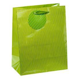 Geschenktasche Nadelstreifen, mittelgroß, 18 x 10 x 23 cm, reißfest, 4er-Set grün