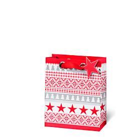 Geschenktasche Nordic, aus Kraftpapier, veredelt, 6 Stück