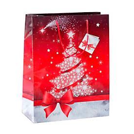 Geschenktasche Sigel Sparkling Tree, mit Kordeln & Geschenkanhänger, Papier, rot mit Weihnachtsbaum, groß
