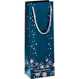 Geschenktasche Silver Snowflakes, im Flaschenformat, mit Tragekordeln, 3 Stück