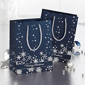 Geschenktasche Silver Snowflakes, verschiedene Größen, mit Tragekordeln, 3 Stück