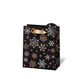 Geschenktasche Snowflakes, aus Kraftpapier, veredelt, 6 Stück