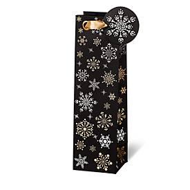 Geschenktasche Snowflakes, im Flaschenformat, aus Kraftpapier, 6 Stück