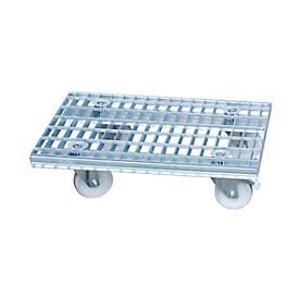 Gitterrost-Rollwagen, innerbetrieblich, verzinkt, 780 x 420 mm