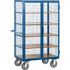 Gitterschrankwagen, mit Doppelflügeltür, abschließbar, 5 Holzböden, bis 750 kg, 1000 x 680 mm, blau