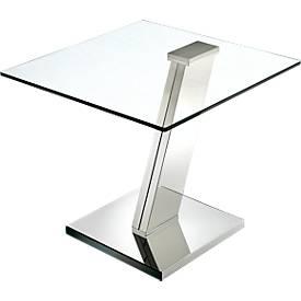 Glas-Beistelltisch, quadratische Platte, Fußgestell Stahl, Höhe 550 mm