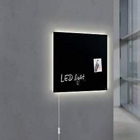 Glasmagnetboard Sigel Business artverum® LED light, 480x480 mm, beschreibbar, 3 Magnete, schwarz