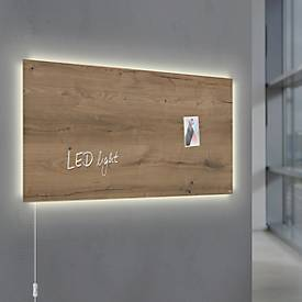 Glasmagnetboard Sigel Business artverum® LED light, Natural Wood, beschreibbar, 910 x 460 mm