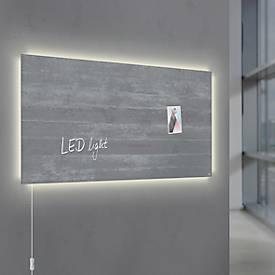 Glasmagnetboard Sigel Business artverum® LED light, Sichtbeton, beschreibbar, 910 x 460 mm