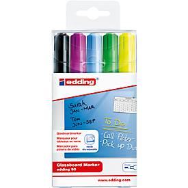 Glazen bord marker Edding 90, set van 5, zwart, geel, groen, lichtblauw, paars, zwart, geel, lichtblauw, paars.