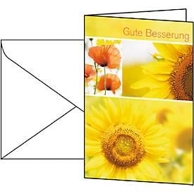 Glückwunsch-Karten Gute Besserung, inkl. weißer...