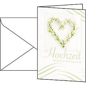 Glückwunsch-Karten Hochzeit, inkl. weißer Umschläge, 10 Stück
