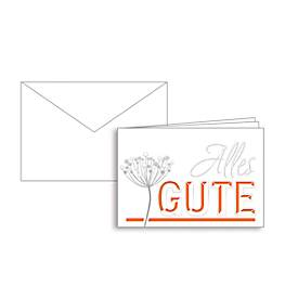 Glückwunschkarte Korsch, Alles Gute, doppelte Einlage, 170 x 115 mm, 215 g/m², weiß/orange, 10 Stück