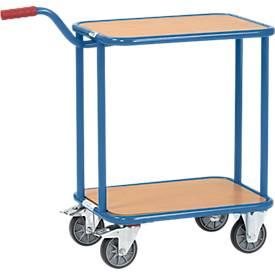 Griffroller, mit 2 Holzplattformen, L 600 x B 450 mm, bis 250 kg, Stahlrohr, blau