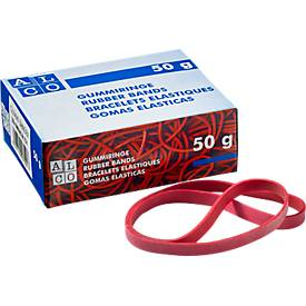 Gummibänder, rot, diverse Größen, wahlweise 50 g oder 1000 g