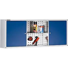 Hängeschrank Alpha, B 1200 x H 500 mm x T 250 mm, lichtgrau/enzianblau