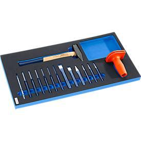 Hammer- und Meißel Set, 15-teilig, Hartschaumeinlage, Schrankserie FS4