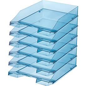 Image of HAN Ablagekorb, DIN C4, Kunststoff, 6 Stück, blau-transparent
