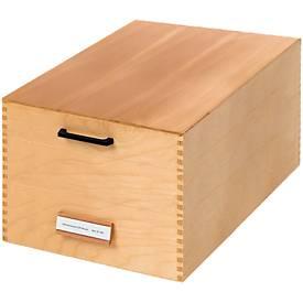 HAN Boîte en bois pour fiches avec couvercle et porte étiquette