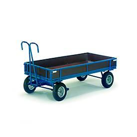 Handpritschenwagen mit Bordwänden, Räder aus Vollgummi, 2460 x 1210 mm