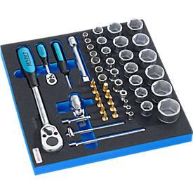 HAZET Steckschlüsselsatz mit Knarre für Schrankserie DP, 46-tlg., in Hartschaumeinlage