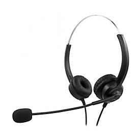 Headset MediaRange MROS304, kabelgebunden, binaural, USB, Lautstärkeregler, Mikrofon mit Rauschfilter, schwarz-silber